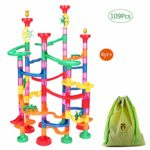 OundarM Marble Run Toy 109 Pcs Marble Race Game for Interactive Family Games