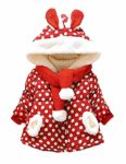 Little Hand Baby Girls Cute Rabbit Ears Hooded Polka Dot Print Winter Warm Coats Jackets Outerwear