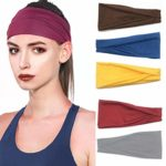 Unicra Workout Headbands Non Slip Sweat Wicking Hair Bands for Yoga Fitness Sports Running Elastic Fits All Head Sizes and Under Helmets (Pack of 5)