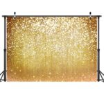 LYWYGG 7x5ft Vinyl Photography Backdrop golden Particles Speckle Background Dreamy Fantasy Dreamlike theme Metal Festive Holiday Party Decorative Photography Backdrop CP-10
