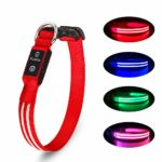 Pumila LED Dog Collar Flashing Light Up Dog Collar 100% Waterproof Rechargeable Safety Adjustable Pets Collar Increased Visibility Super Bright for Small Medium Large Dog - Red - L